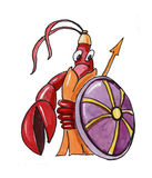 Crawfish. Funny crawfish with a spear and a shield Royalty Free Stock Photography