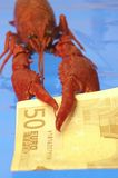 Crawfish And Euro Stock Image