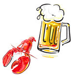 Crawfish and beer Royalty Free Stock Photography