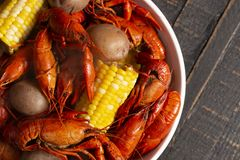 A Crawfish Boil with Corn on the Cob and Potatoes. Crawfish Boil with Corn on the Cob and Potatoes stock photos