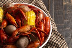 A Crawfish Boil with Corn on the Cob and Potatoes. Crawfish Boil with Corn on the Cob and Potatoes stock image