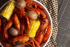A Crawfish Boil with Corn on the Cob and Potatoes. Crawfish Boil with Corn on the Cob and Potatoes stock images