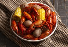 A Crawfish Boil with Corn on the Cob and Potatoes. Crawfish Boil with Corn on the Cob and Potatoes royalty free stock photo