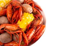 A Crawfish Boil with Corn on the Cob and Potatoes. Crawfish Boil with Corn on the Cob and Potatoes royalty free stock images