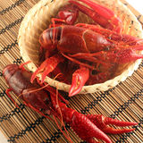Crawfish. Boiled crawfish in the wicker basket royalty free stock photography