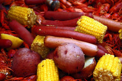 Crawfish Corn Potatoes and Hot Dogs Stock Photography