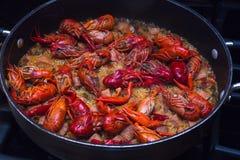 Crawfish Jambalaya Recipe. A beautiful skillet full of crawfish jambalaya. This dish was created in the southern United States, in Lousiana stock photo