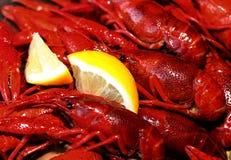 Crawfish and lemon snack Royalty Free Stock Photos