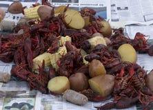 Crawfish on table Royalty Free Stock Photo