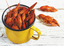 Crawfish on wooden background Stock Photos