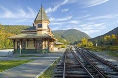 Crawford Depot lungo il giro scenico del treno per montare Washington, New Hampshire fotografia stock