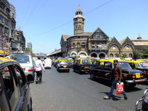 Crawford market in India. Taxis parked at Crawford Market in Mumbai India Royalty Free Stock Images