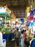 Crawford Market - Market scenes. Crowds of shoppers throng the stalls at Crawford Market. is one of South Mumbai's most famous markets. It was earlier named stock photo