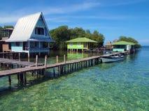 Crawl cay resort. Caribbean resort over the water in archipelago of Bocas del Toro, Panama Royalty Free Stock Photo