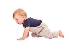 Crawl. Child crawl isolated on white background royalty free stock image