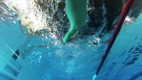 Crawl, flip turn. Flip turn in the swimming pool, crawl stock video