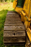Crawler (continuous tracked tractor)  bulldozer track detail. Royalty Free Stock Images