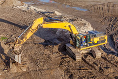 Crawler excavator at work Stock Photo