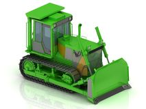 Crawler with a green hydraulic shovel Stock Photos