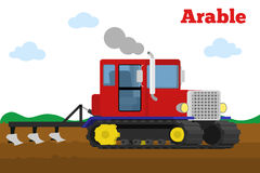 Crawler tractor with plow tillage field. Stock Photography