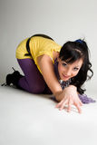 Crawling asian girl Royalty Free Stock Images
