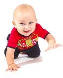 Crawling baby. Sweet baby boy crawling, isolated stock image