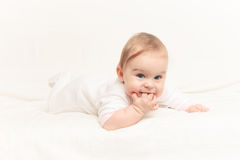 Crawling baby. On white background Royalty Free Stock Images