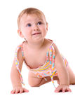 Crawling baby isolated Stock Photo