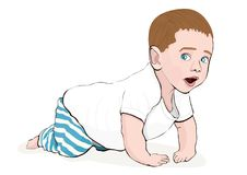 Crawling baby vector hand drawing. Colored cartoon picture small child crawls on the knees, drawn portrait cute kid full-length in. Striped blue pants and a Stock Image