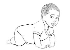 Crawling baby vector outline hand drawing, coloring, sketch. Black and white cartoon small child crawls on the knees, drawn portra. It kid full-length in pant Stock Image