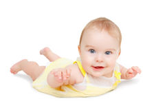 Crawling blue-eyed baby Stock Photography