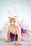 Crawling bunny. Cute baby girl with bunny ears - studio shot Stock Photo