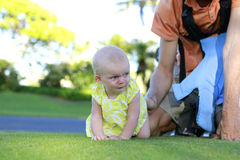 Crawling cutel baby girl Royalty Free Stock Images