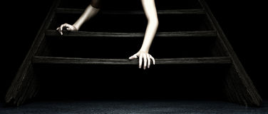 Crawling down stairs Stock Photo