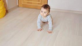 Crawling funny baby boy indoors at home