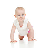 Crawling funny baby goes down on all fours Stock Photography