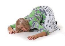 Crawling and growling girl royalty free stock images