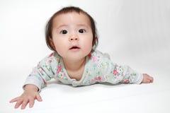 Crawling Japanese baby girl Royalty Free Stock Photos