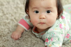 Crawling Japanese baby girl Royalty Free Stock Photo