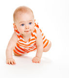 Crawling kid. A cute baby boy crawling, isolated stock photos