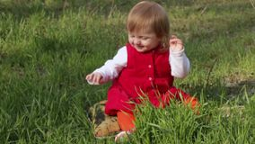 Crawling year-old child stock video footage