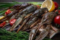 crayfish ?wie?y rakowy na stole w nieociosanym stylu, w g obraz royalty free