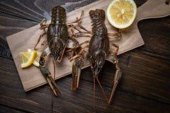 crayfish ?wie?y rakowy na stole w nieociosanym stylu, w g?r? Homara zbli?enie obrazy royalty free
