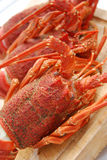 Crayfish. Cooked crayfish on a wooden board Royalty Free Stock Image