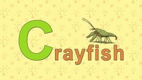 crayfish Angielski zoo abecadło - listowy C royalty ilustracja