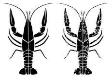 Crayfish black grunge Stock Photos