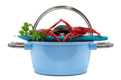 Crayfish Blue Pan Royalty Free Stock Photography