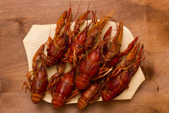 Crayfish boiled and laid on tray Royalty Free Stock Photo