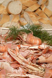 Crayfish and bread Stock Image
