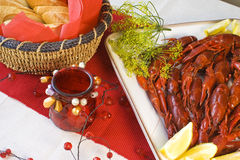 Crayfish and bread Royalty Free Stock Image